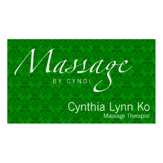 Massage Text on Green Damask Double-Sided Standard Business Cards (Pack Of 100)