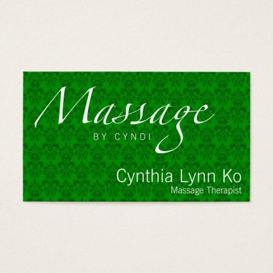 Massage Text on Green Damask Business Card