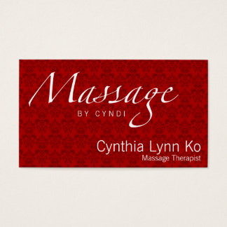 Massage Text on Red Damask Business Card