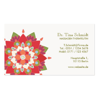 Massage Therapie Rot Lotos Terminkarte Business Card Template
