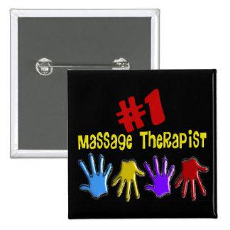 """Massage Therapist """"#1"""" Gifts Pin"""