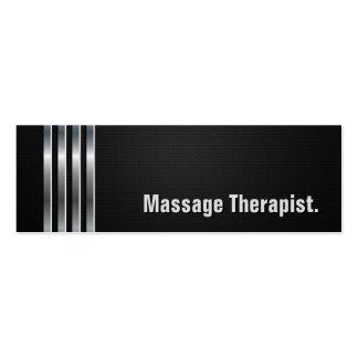 Massage Therapist - Black Silver Stripes Mini Business Card