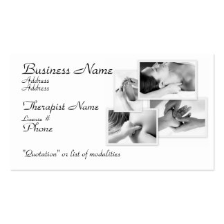 Massage Therapist, black & white on white Double-Sided Standard Business Cards (Pack Of 100)