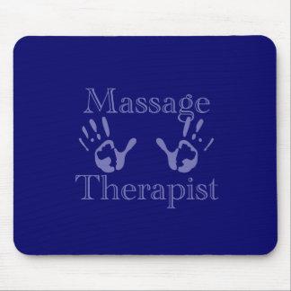 Massage Therapist: Blue Hand Prints Mouse Pad