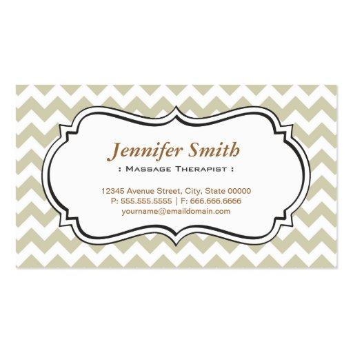 Massage Therapist - Chevron Simple Jasmine Business Cards