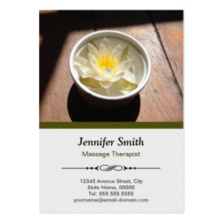 Massage Therapist Chic Water Lily Appointment Large Business Card