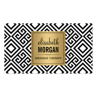 Massage Therapist - Classy Gold Abstract Pattern Business Card