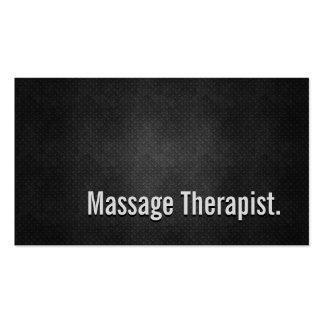 Massage Therapist Cool Black Metal Simplicity Double-Sided Standard Business Cards (Pack Of 100)