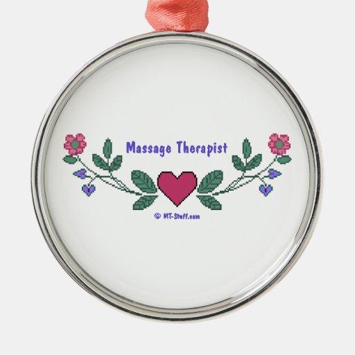 Massage Therapist Cross Stitch Print Metal Ornament
