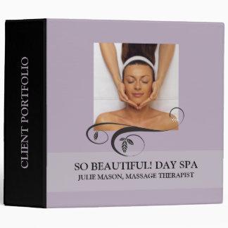 Massage Therapist Day Spa Client Portfolio 3 Ring Binder