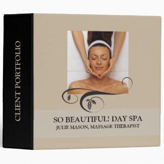 Massage Therapist Day Spa Client Portfolio (Beige) 3 Ring Binder