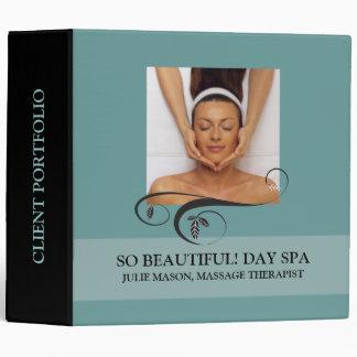 Massage Therapist Day Spa Client Portfolio (Teal) Binder