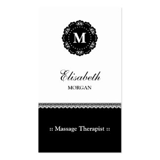Massage Therapist Elegant Black Lace Monogram Business Card