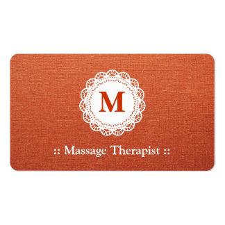 Massage Therapist Elegant Lace Monogram Business Card
