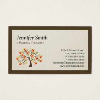 Massage Therapist - Elegant Swirl Whimsical Tree Business Card