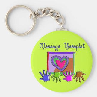 Massage Therapist Funky Artsy Design Gifts Basic Round Button Keychain