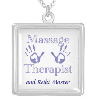 Massage Therapist Hand Prints Square Pendant Necklace