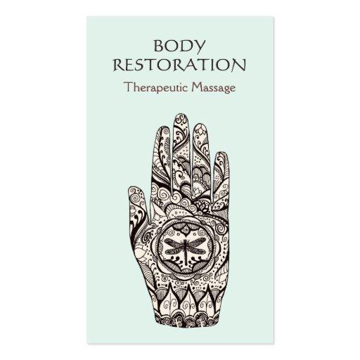 Massage Therapist Henna Dragonfly Tattoo Hand 1 Business Card Template