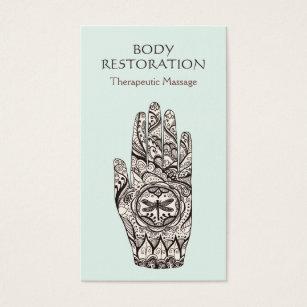 Tattoo business cards templates zazzle massage therapist henna dragonfly tattoo hand 1 business card accmission Gallery