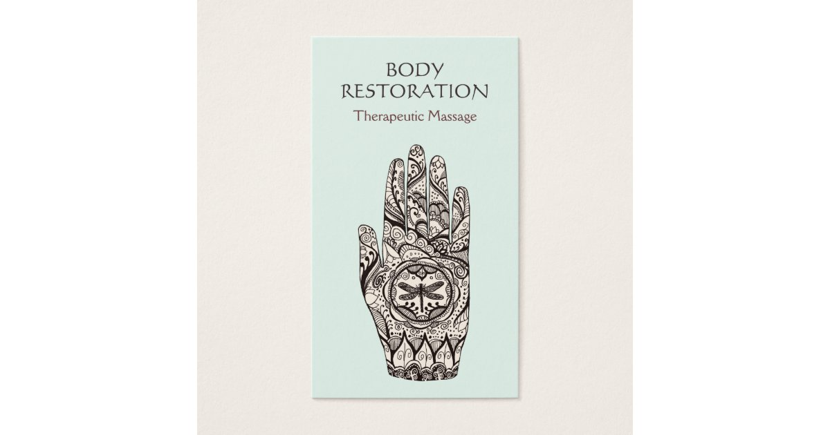 Massage Therapist Henna Dragonfly Tattoo Hand 1 Business Card ...