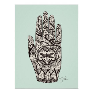 Massage Therapist Henna Dragonfly Tattoo Hand 5 Poster