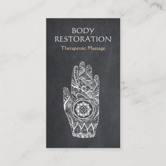 Massage Therapist Henna Lotus Tattoo Hand Business Card Zazzle Com