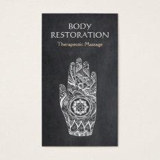 Massage Therapist Henna Lotus Tattoo Hand Business Card at Zazzle