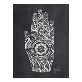 Massage Therapist Henna Tattoo Hand Lotus Poster