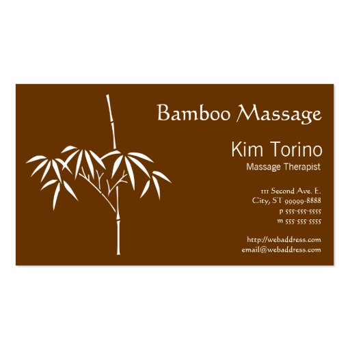 Massage Therapist Japanese Bamboo Business Card Templates