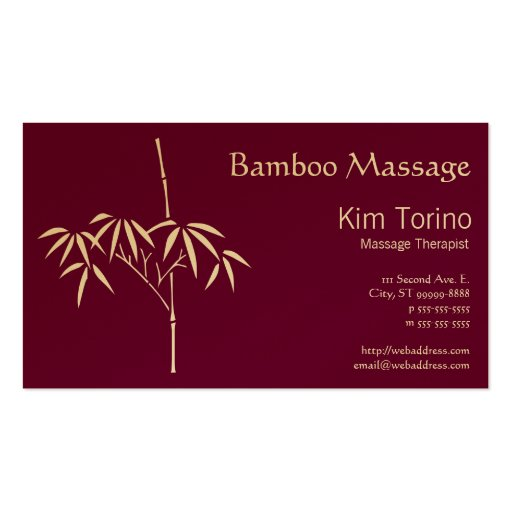 Massage Therapist Japanese Bamboo Business Card Template