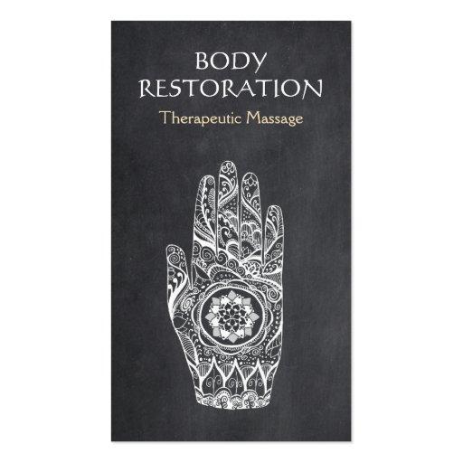 Massage Therapist Logo Henna Lotus Tattoo Hand 1 Business Card
