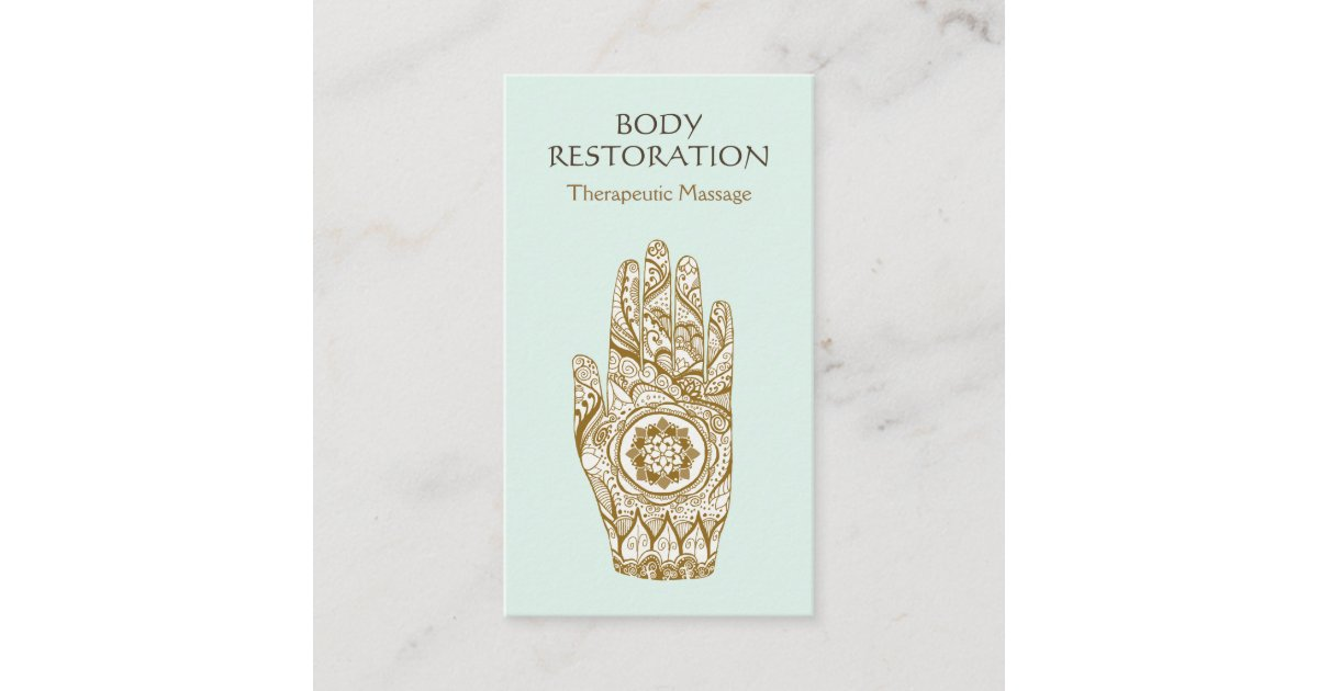 Massage Therapist Logo Henna Lotus Tattoo Hand 2 Business Card ...