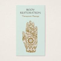 Massage Therapist Logo Henna Lotus Tattoo Hand 2 Business Card