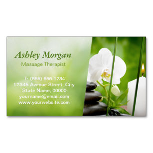 Massage therapist business cards templates zazzle massage therapist meditation zen spa salon magnetic business card colourmoves