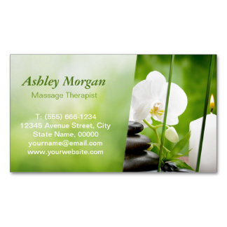 Massage Therapist Meditation Zen Spa Salon Magnetic Business Cards (Pack Of 25)