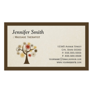 Massage Therapist - Nature Tree of Life Business Card Templates