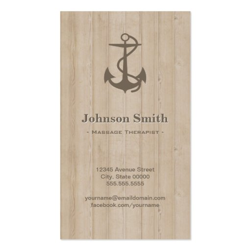 Massage Therapist - Nautical Anchor Wood Business Card Templates