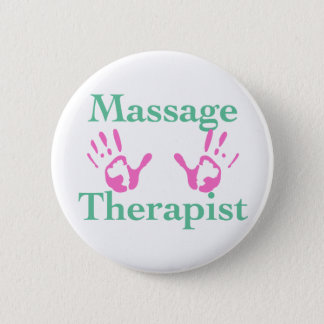 Massage Therapist: Pink Hand Prints Button