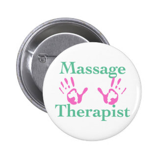 Massage Therapist: Pink Hand Prints Pinback Buttons