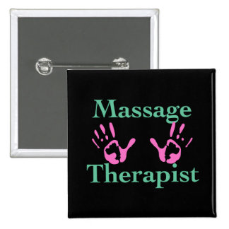 Massage Therapist: Pink Hand Prints 2 Inch Square Button