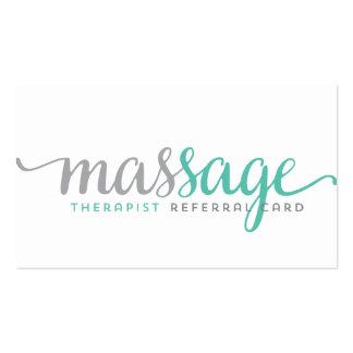 Massage therapist referral card