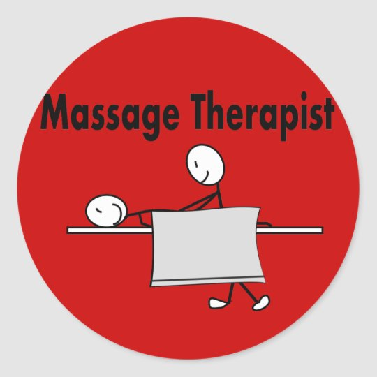 Massage Therapist Stick Person Classic Round Sticker