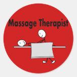 Massage Therapist Stick Person Round Sticker