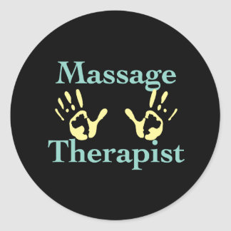 Massage Therapist: Yellow Hand Prints Classic Round Sticker