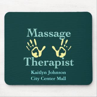Massage Therapist: Yellow Hand Prints Mouse Pad