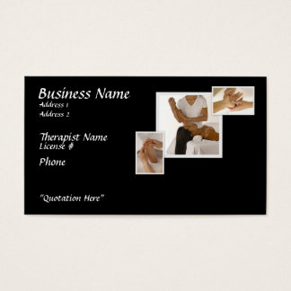 Massage Therapy Business Card, black background Business Card