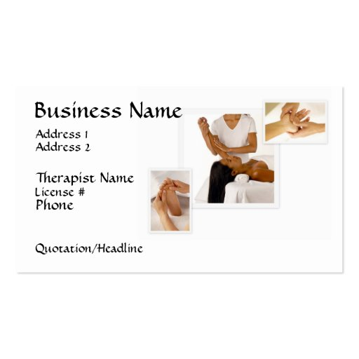 Massage Therapy Business Card, white background Double-Sided Standard Business Cards (Pack Of 100)