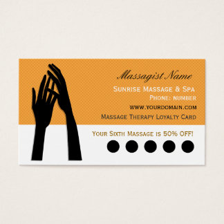 Massage Therapy Customer Loyalty Punch Business Card