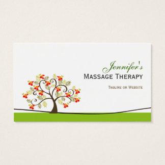 Massage Therapy - Elegant Swirl Wish Tree Symbol Business Card