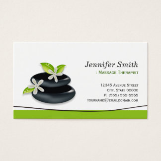 Massage Therapy - Elegant Zen Stones Logo Business Card